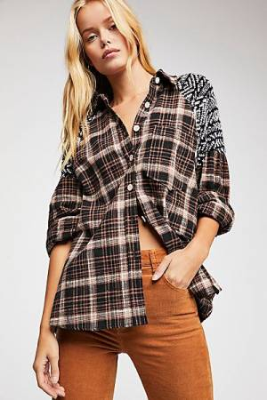 "Free People Shirt ""Fireside Nights"" Plaid Buttondown Top"