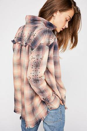 "Free People Plaid Buttondown Shirt ""Take On Me"" Top"