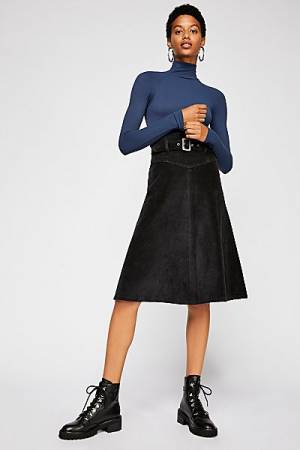 "Free People Cord Retro Midi Skirt ""Belt It Up"""