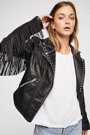 "Blank NYC Fringed Faux Leather Jacket ""On The Run"""