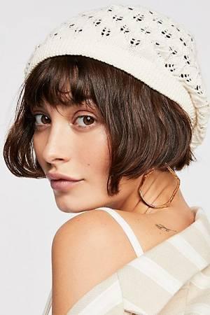 """Free People Crochet Knit Beret Hat """"Amelia"""""""