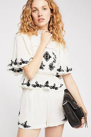 "Free People Boho Embroidered Short Set ""Abbie"""