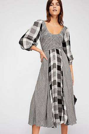 "Free People Midi Dress ""Old Friends"" Patchwork Plaid"