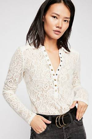 """Free People Lace Henley Top """"Cozy Cadet"""""""
