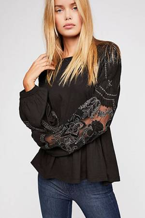 "Free People Blouse ""Penny"" Embroidered Boho Tee"