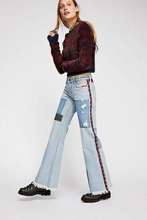 "Free People Jeans ""Plaid Patchwork"" Flares"