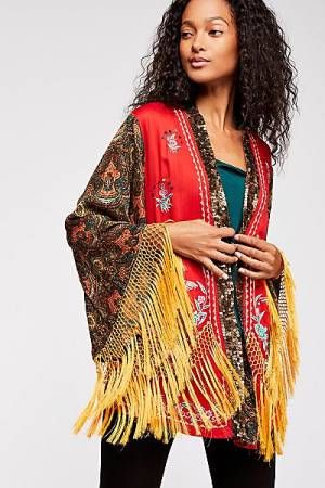 "Free People Kimono Jacket ""Tiger Lily"" Boho Chic"