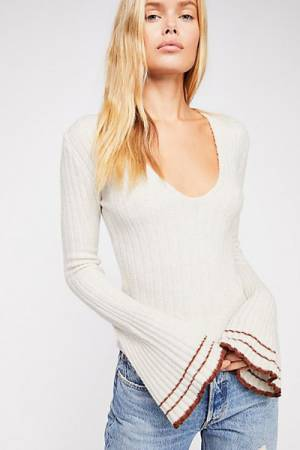 "Free People Tops ""May Morning"" Retro Bell Sleeves Sweater"