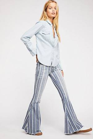 Free People Striped Super Flare Jeans