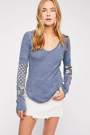 """Free People Top """"Greatest"""" Patched Thermal"""