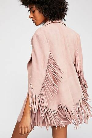 """Understated Leather Jacket """"Fringe"""" Boho Blazer"""