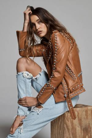 "Understated Leather Studded Biker Jacket ""Western Dome"""