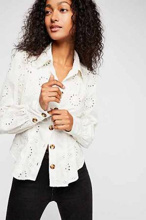 "Free People Shirt ""Up In The Clouds"" Eyelet Top"