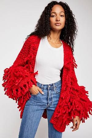 """Loopy Mango Sweater Coat """"Fringe"""" Knitwear"""
