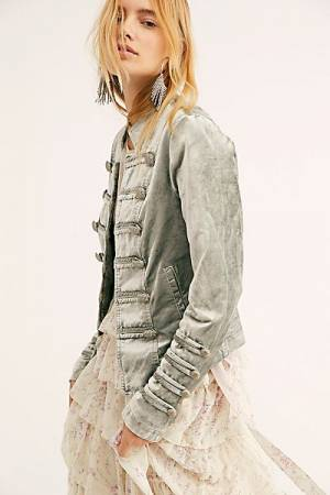 "Free People Military Jacket ""Fitted Velvet"""