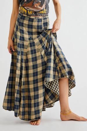 "CP Shades Maxi Skirt ""Slate Plaid Lily"""