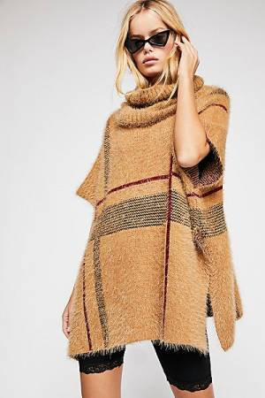 "Free People Poncho ""Alpine"" Plaid Pullover"