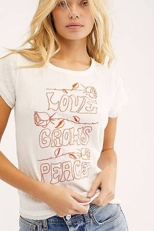 "Free People Tops ""Love Peace Adoration Tee"""