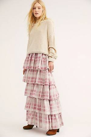 "LoveShackFancy Plaid Maxi Skirt ""Carmen"""