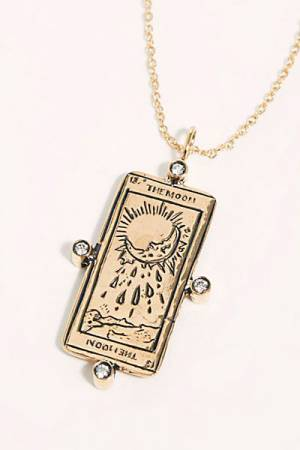 "Sofia Zakia Tarot Card Necklace ""The Moon"""