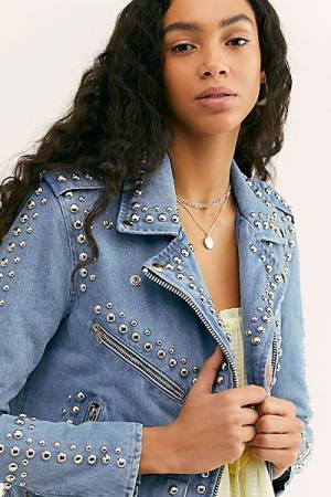 Understated Leather Studded Denim Moto Jacket