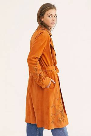 Brenda Knight Embellished Suede Trench Coat