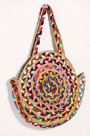 "Free People Raffia Tote ""Rainbow"""