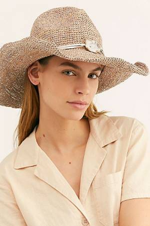 """Free People Straw Hat """"Shimmer Stone"""""""