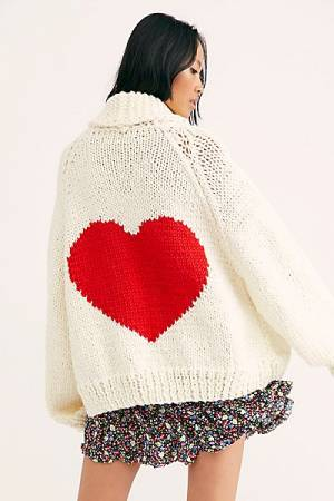 "Chunky Knit Cardigan ""Heart"""