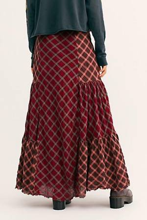 "Free People Maxi Skirt ""Plaid Prairie Dreams"""