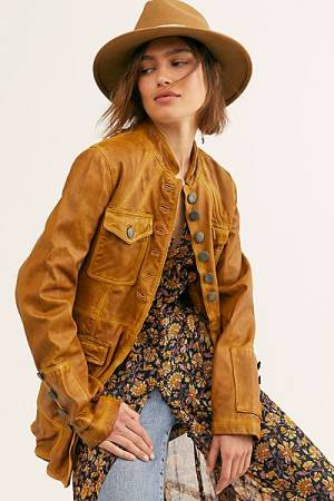 "Free People Military Leather Jacket ""Horizons"""