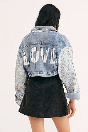 "Wren + Glory Denim Jacket ""Sequin Love"""