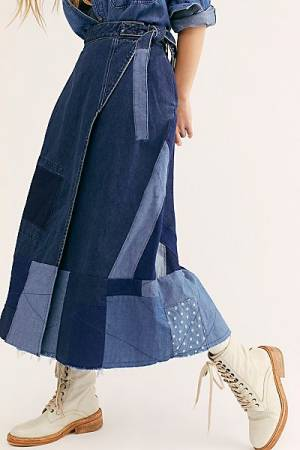 "Free People Maxi Denim Skirt ""Patchwork"""