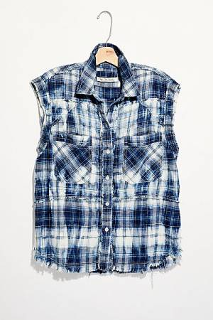 "Free People Top ""Wave After Wave Plaid Shirt"""