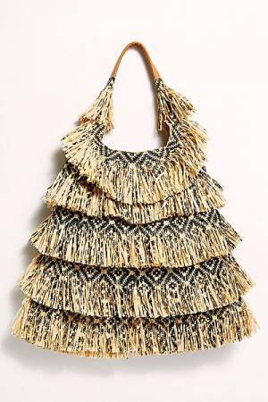 "Free People Fringe Hobo Bag ""Soleil Raffia"""