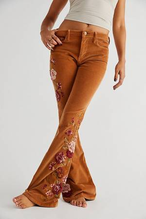 """Driftwood Cord Jeans """"Farrah Embroidered Flares"""""""