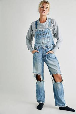 "Free People Denim Overalls ""Distressed Ziggy"""