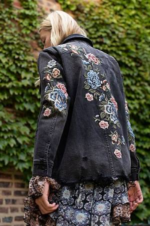 "Driftwood Denim Trucker Jacket ""Embroidered Stormi"""