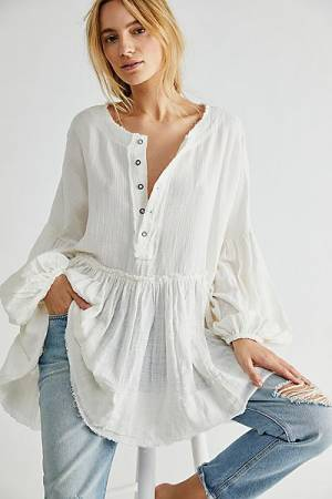 "Free People Top ""Keeping It Cool Tunic Pullover"""