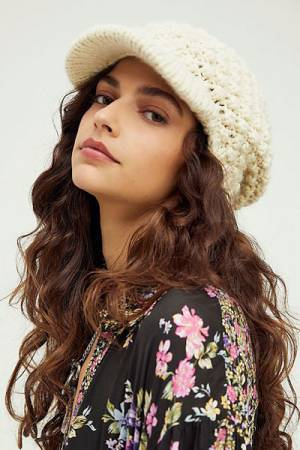 "Free People Hat ""Slouchy Bobble Knit Cabbie"""