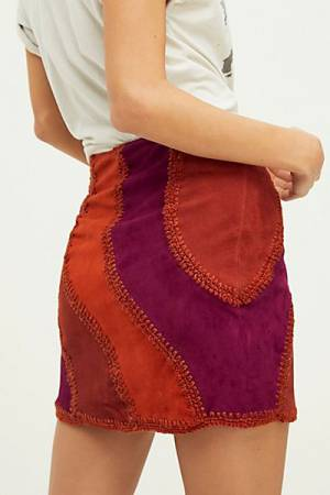 "Free People Patched Suede Mini Skirt ""Retro Hanson"""