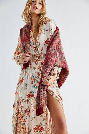 "Free People Boho Maxi Dress ""Prairie Punk Shirtdress"""