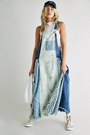 "Free People Dress ""Skylar Denim Patchwork Skirtall"""