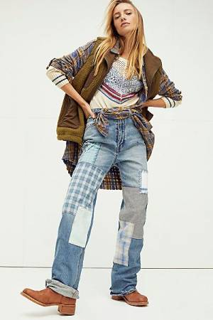 "Free People Jeans ""Steinbeck Patchwork"""