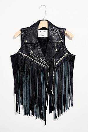"Understated Leather Vest ""Young & Free"""