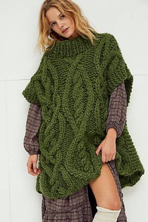 Loopy Mango Chunky Knit Sweater Poncho