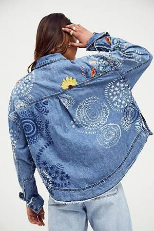 """Free People Embroidered Denim Top """"Marrakesh"""""""