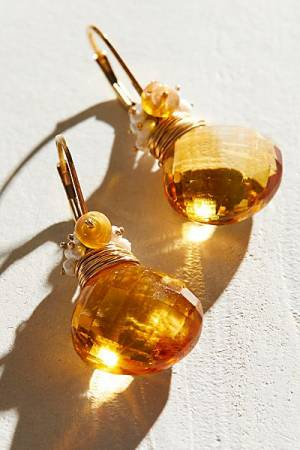 River Song Citrine Drop Earrings