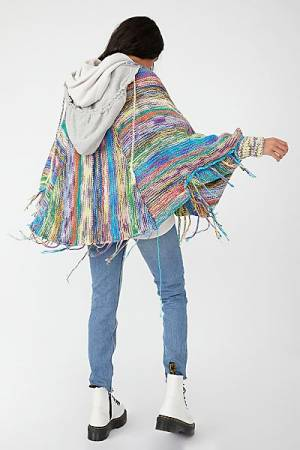 "Free People Top ""Kaleidoscope Knit Hoodie Jacket"""