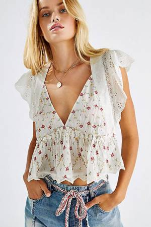 """Free People Top """"Rosebud Embroidered Blouse"""""""